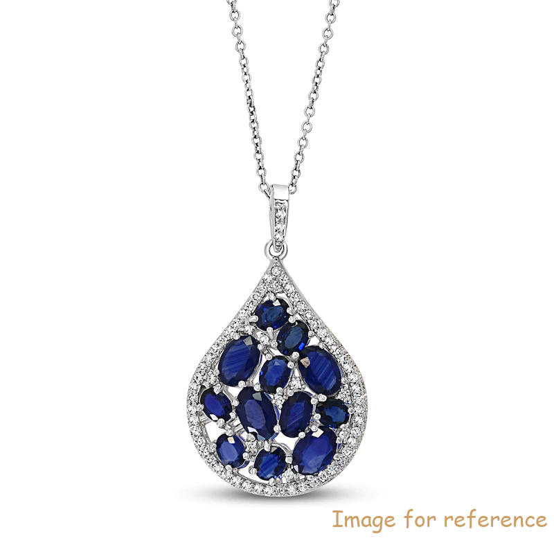 Blue Sapphire Necklace OEM ODM factory 14K White Gold