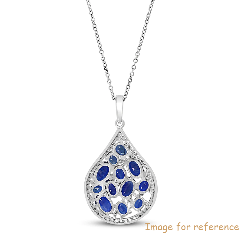 Blue Sapphire Necklace OEM ODM factory 14K White Gold1